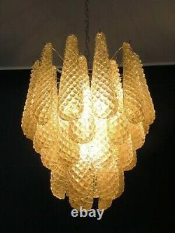 Italian Vintage Murano Chandelier 41 Amber Glass Petals Drop