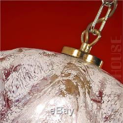 Italian Vintage Pendant Hanging Light White Murano Glass Brass Mid-Century
