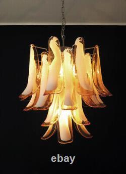 Italian vintage Murano chandelier 26 amber glass petals