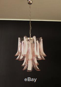 Italian vintage Murano chandelier 26 pink glass petals