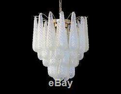 Italian vintage Murano chandelier 41 glass petals drop OPALINO