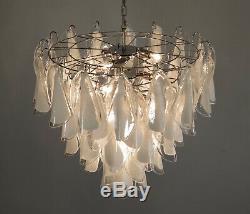 Italian vintage Murano chandelier 50 lattimo glass rondini