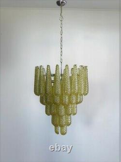 Italian vintage Murano chandelier 52 amber glass petals drop