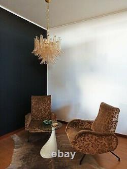 Italian vintage Murano chandelier Mazzega 36 lattimo GOLD glass petals