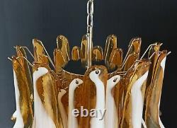 Italian vintage Murano chandelier Mazzega 36 lattimo amber glass petals