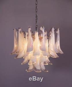 Italian vintage Murano chandelier Mazzega 36 lattimo glass petals