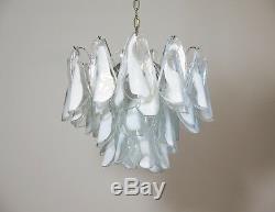 Italian vintage Murano chandelier Mazzega 36 lattimo glass rondini