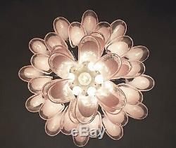 Italian vintage Murano chandelier Mazzega 36 lattimo pink glass petals