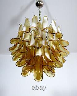 Italian vintage Murano chandelier Mazzega 41 caramel lattimo glass petals