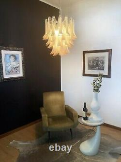 Italian vintage Murano chandelier Mazzega 41 pink lattimo glass petals
