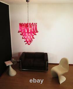 Italian vintage Murano chandelier Mazzega 52 glass petals