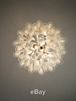 Italian vintage Murano chandelier Mazzega 53 lattimo glass