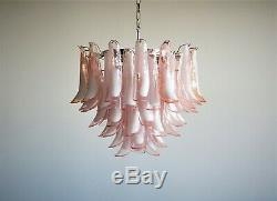 Italian vintage Murano chandelier Mazzega 53 pink lattimo glass petals