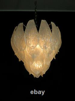 Italian vintage Murano chandelier frosted carved glass leaves
