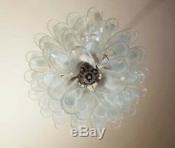 Italian vintage Murano chandelier in the manner of Mazzega 52 glass petals