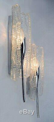 KALMAR GLASS Vintage Sconces Light Lamp Mid Century Modern 60s Murano Sputnik