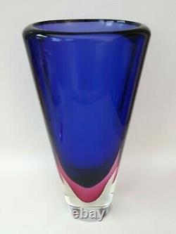 LARGE VINTAGE ITALIAN MURANO ART GLASS SOMMERSO FLAVIO POLI STYLE MCM VASE 1960s