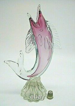 LARGE Vintage Murano Salviati sommerso glass fish marlin sculpture 10 STUNNING