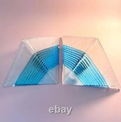 Lampade parete MAZZEGA MURANO blue glass wall lamp vintage 80s U