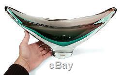 Large 16.5 Modernist Vintage Salviati Sommerso Murano Italian Art Glass Bowl
