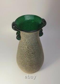 Large 1970s Italian Seguso Vetri d'Arte Scavo Murano Glass Vintage Green Vase