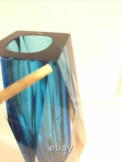 Large Blue vintage mid century Murano Faceted Tri Colour Sommerso Block Vase 7