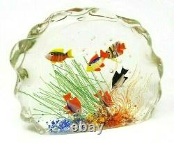 Large Signed Vintage Murano Glass Aquarium Sculpture 5-1/2 Tall 7 Wide
