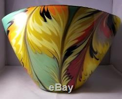 Large Vintage Beautiful Multicolor Murano Art Glass Bowl/Vase Signed
