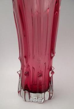 Large Vintage Italian Murano Cranberry Pink Cased Art Glass Vase MID Century