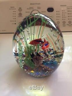 Large Vintage Murano Art Glass Egg Shaped Fish Tank Aquarium Paperweight
