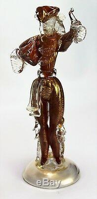 Large Vintage Murano Dancer figurines Gold Fleck Venetian glass Sculptures