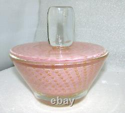 Large Vintage Murano Dresser Candy Jar Pink Controlled Bubbles / Gold Inclusions