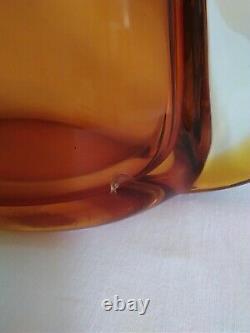 Large Vintage Murano Sommerso Art Glass Vase C1960's Red Orange Amber