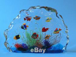 Large Vintage Nine Fish Murano Fish Aquarium Sculpture Barbini Style 11 x 8
