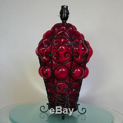Large Vintage Venetian Murano Red Hand Blown Caged Glass Table Lamp 2 Lights
