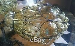 Large pale amber antique /vintage Cage Blown Glass Murano Bubble Light Lamp