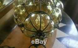 Large pale amber antique /vintage Cage Blown bubble Glass Murano Light Lamp