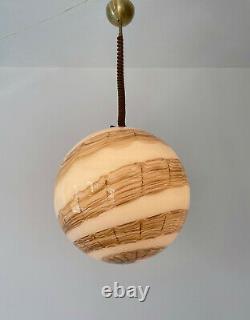 Large rare globe pendant DE MAJO Murano swirl creme glass lampadario vintage 70U