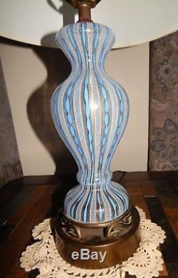 Lot of Vintage Murano Latticino Blown Art Glass LampBellVase Lattice