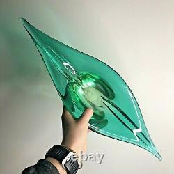 Lovely Large Vintage Murano Green Glass Centrepiece Bowl