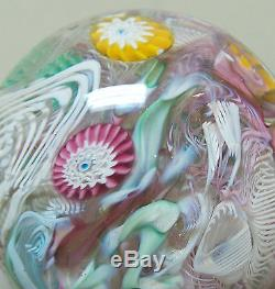 Lovely Vintage Murano Latticino Millefiori Confetti Art Glass Paperweight