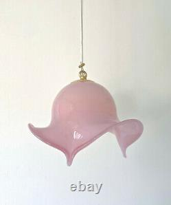 Lovely opalescent pink ceiling lamp Murano glass lampadario vintage 70 U