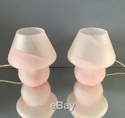 Lovely pink mushroom lamps blown MURANO glass lampade fungo vintage 80s U