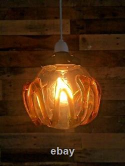MID Century 60's Retro Murano Blown Glass Amber Trail Ceiling Light Shade 70's