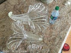 MURANO Chandelier Cornucopia Italian Crystal Clear Calla Lily Brass Vintage