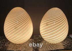 MURANO EGG VINTAGE M. C. M. IVORY VETRI VÉNITIEN HANDBLOWN GLASS LAMPS Circa 1960s