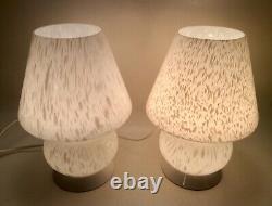 MUSHROOM LAMPS PAIR MURANO GLASS VINTAGE LAMPADE FUNGO venini seguso veart era