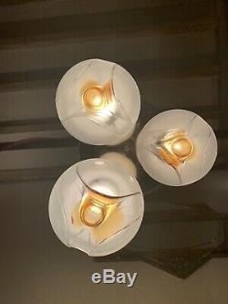 Mazzega Murano Flush Mount Chandelier Gold & Glass Light 1970s Vintage Sciolari