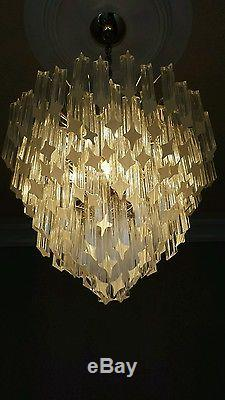 Mid 1960's Vintage 4 Tier Camer Murano Venini Glass chandelier 80 crystals