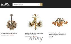 Mid Century Chandelier Murano Italian Design Glass Flower 1960s 70s Vintage Lamp